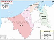 Political Map of Brunei Brunei Districts Map