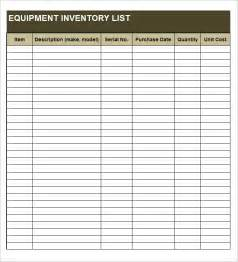 Equipment Inventory List Template