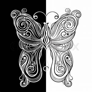 Vector monochrome butterfly with unique pattern | Stock ...