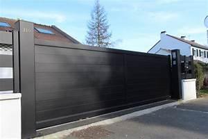 Portail En Aluminium : portail aluminium plein et cloture smf services ~ Melissatoandfro.com Idées de Décoration