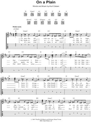 "Nirvana ""on A Plain"" Guitar Tab  Download & Print"
