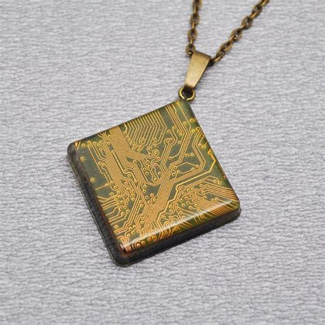 Geek Jewelry Resin Necklace With Motherboard Computer