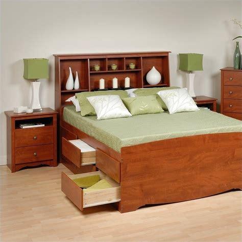 prepac bedroom furniture sets prepac monterey cherry wood platform storage bed 3