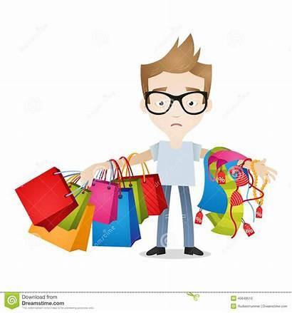 Shopping Clothes Bags Boy Tired Clipart Cartoon
