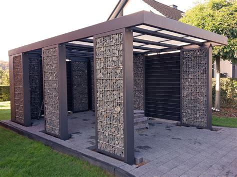 Gabionen Carport Steelmanufaktur