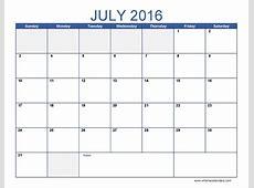 July 2016 Calendar Excel #July2016 #ExcelCalendar