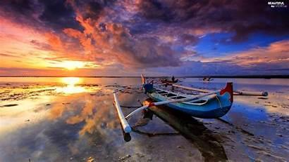 Canoe Beach Clouds Sky Sun Sunset Sea