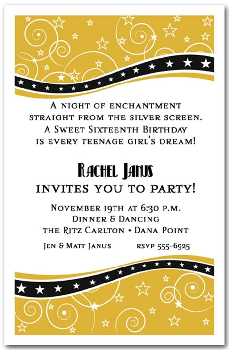 swirls  stars gold party invitations