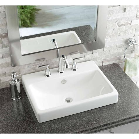 drop in bathroom sinks rectangular shop jacuzzi anna white ceramic drop in rectangular