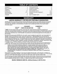 Craftsman 580327130 User Manual 3500 Watt A C Generator