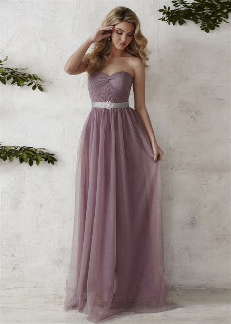 A Line Sweetheart Neck Mauve Ruched Tulle Bridesmaid Dress
