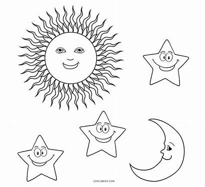 Sun Coloring Pages Moon Stars Printable Cool2bkids