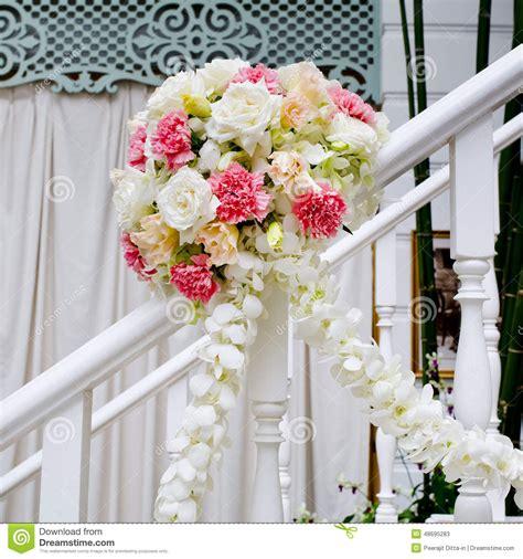 beautiful wedding flower decoration  stairs stock photo