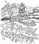 Farm Scenes Drawing Coloring Pages Adults Landscape Getdrawings sketch template