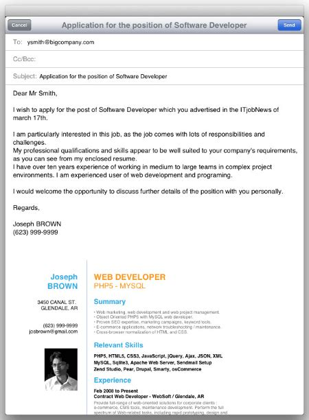 application email with attached cover letter sle