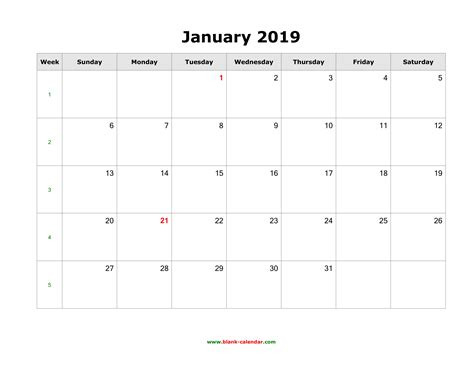 Download January 2019 Blank Calendar (horizontal