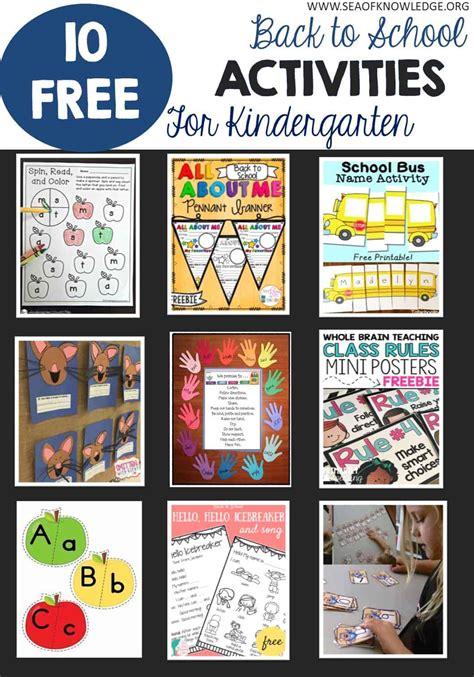 12 free back to school kindergarten activities sea of 877 | BacktoSchoolActivities Kindergarten