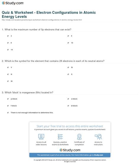 Quiz & Worksheet  Electron Configurations In Atomic Energy Levels Studycom