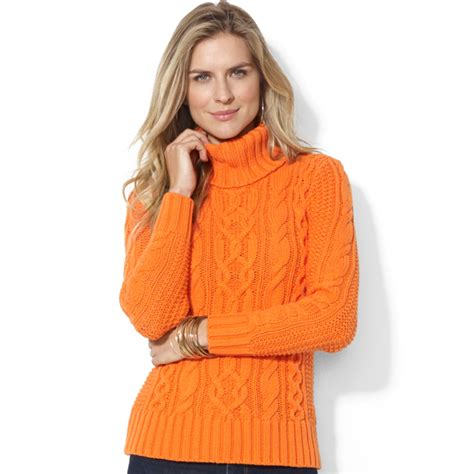 orange turtleneck sweater lyst by ralph co cableknit