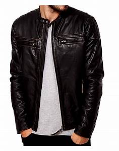 Snap Tab Collar Casual Mens Dark Brown Leather Jacket