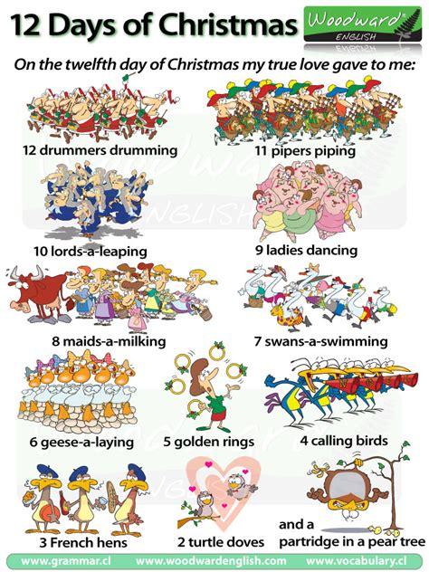twelve days of christmas christmas carol with english vocabulary
