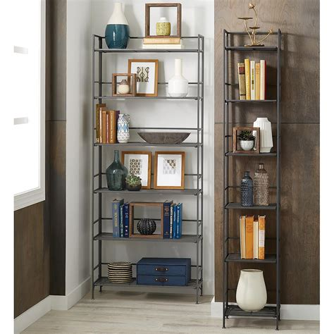 container store folding bookcase 6 shelf iron folding bookshelf the container store
