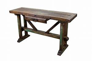Recycled Old Pine Sofa Table Rustic Mexican Furniture