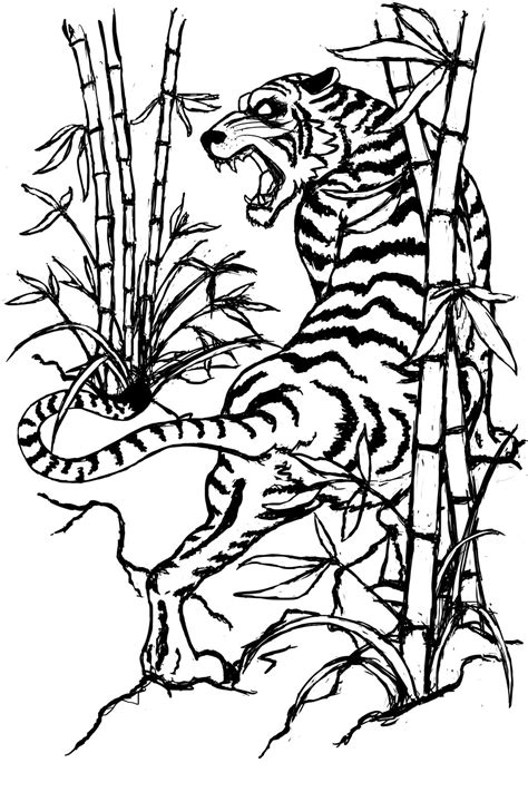 Black-and-white chinese style tiger among bamboo stems tattoo design by Jdstone - Tattooimages.biz
