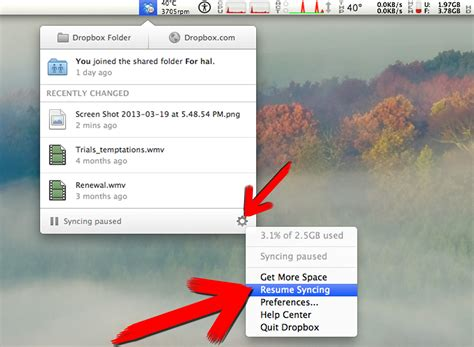 how to pause and resume syncing on dropbox 6 steps
