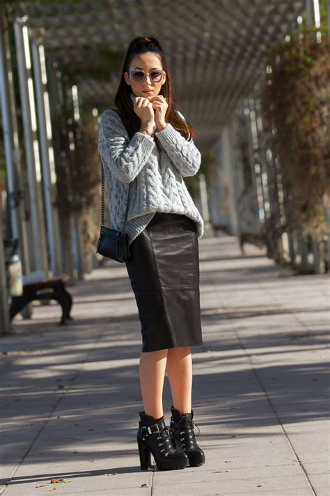 sweater zara s leather pencil skirt with or without shoes