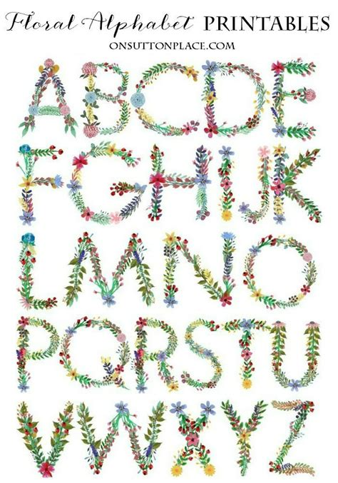 floral alphabet printables digital downloads  sutton place floral font alphabet