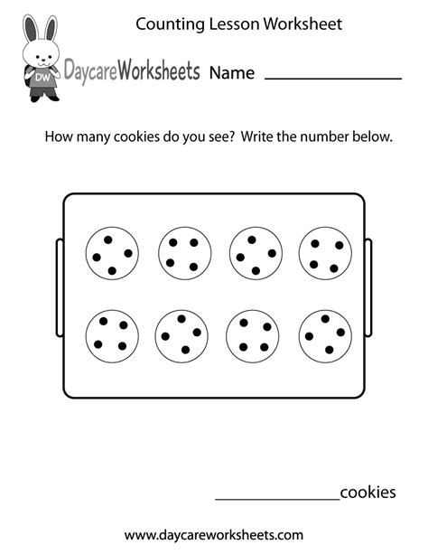 counting lesson worksheet  preschool