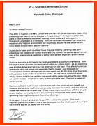 Letter To Principal Letter Of Appreciation From Teacher To Principal Calendar 2015