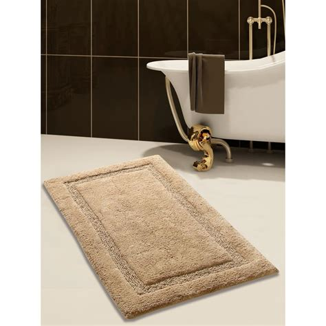 saffron fabs      cotton bath rug  beige