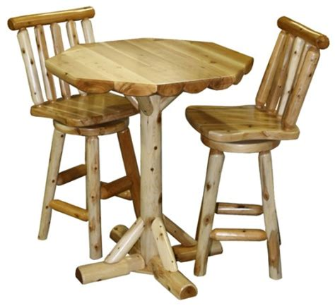 amish log rustic pub table chairs set high bar breakfast