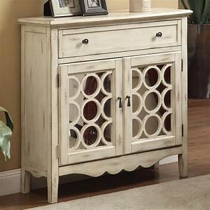 Accent Cabinets Antiqued White Finish Accent Cabinet With