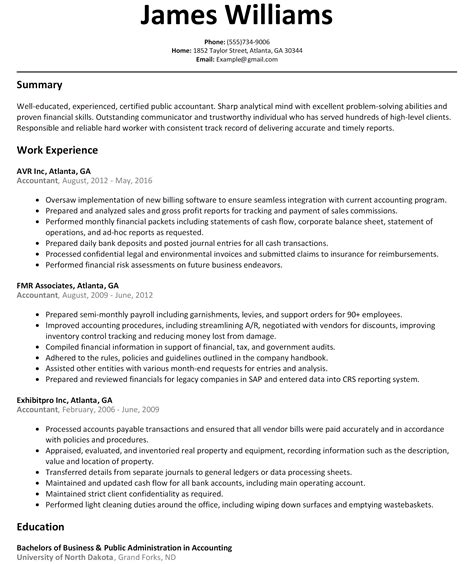summary of skills for accounting resume sle resume accountant