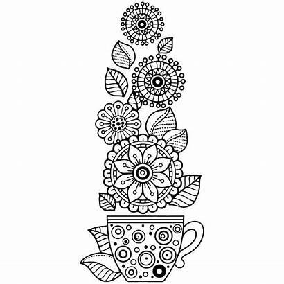Coloring Tea Cup Flowers Printable Colorear Mandalas