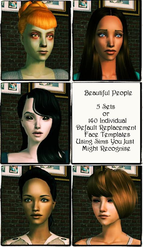 the sims 2 face replacement templates sims by izza beautiful people a default replacement