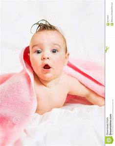 Surprised Baby With A Towel After The Shower Stock Photo ...