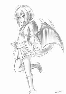 Random Sketch: Dragon Girl by Kamikowareta on DeviantArt