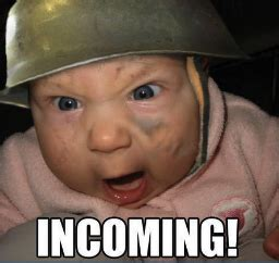 Mad Baby Meme - thanksgiving is here angry army baby incoming meme army hat humor esknives pinterest