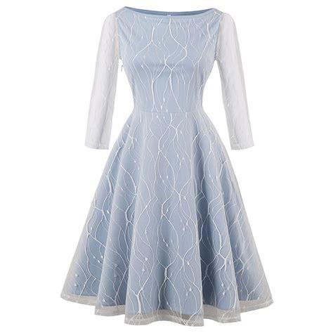 light blue vintage dress women 39 s light blue vintage 3 4 length sleeve floral mesh