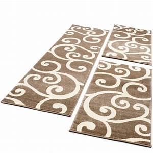 tour de lit tapis de couloir moderne beige creme 3 pieces With tapis de lit