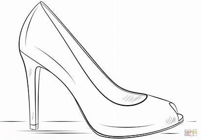 Coloring Heel Shoe Talon Drawing Outline Heels
