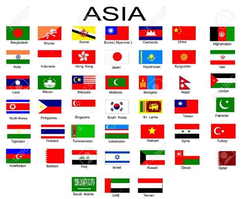 List Of All Flags Of Asian Countries Stock Photo, Picture
