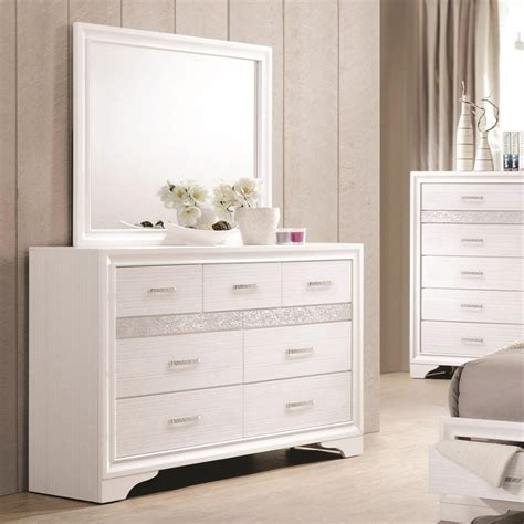 white dresser set coaster miranda 7 drawer dresser mirror with wood frame 13841