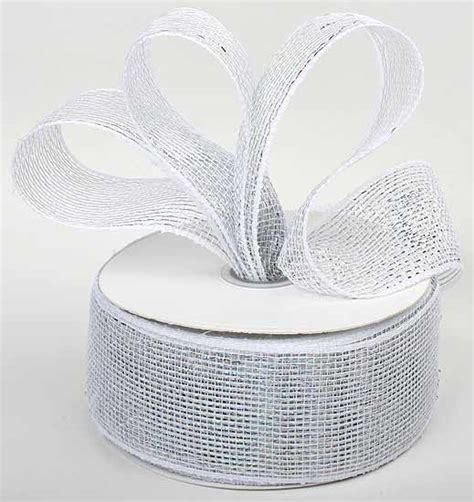 silver and white metallic mesh ribbon ribbon and trims craft supplies