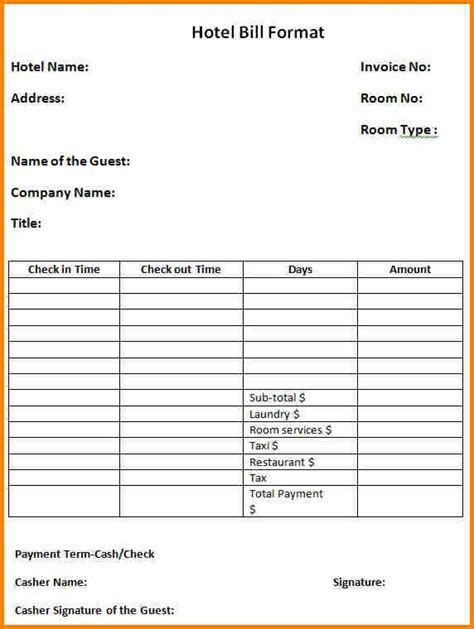 bill format  hotel simple bill suresh invoice