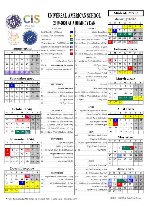 students calendar universal american school